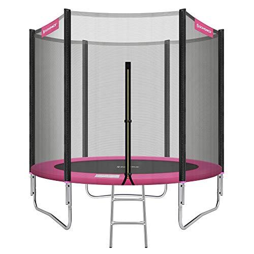 SONGMICS Trampolin Ø 244 cm, rundes Gartentrampolin mit Sicherheitsnetz, mit Leiter und gepolsterten...