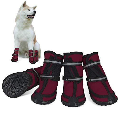 Dociote Hundeschuhe pfotenschutz mit Anti-Rutsch Sohle, reflektierendem Riemen, Klettverschluss...
