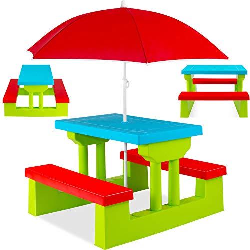 KESSER® Kindersitzgruppe mit Sonnenschirm Kindertisch Picknickset | Sitzgarnitur Tisch und Bänke |...