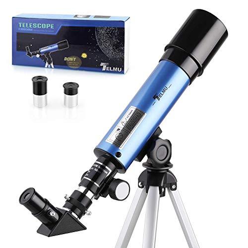 TELMU Astronomisches Teleskop Lichtteleskop zoom Tragbarer Refraktor mit Stativ Kinder Telescope mit 45...