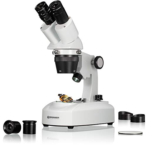 Bresser 3D Stereo Auflicht Durchlicht Mikroskop Researcher ICD LED 20x-80x mit 360° drehbarem Tubus, LED...