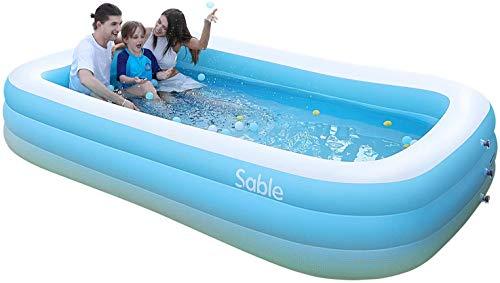Sable Aufblasbarer Pool, 300 x 184 x 51 cm großer Family Pool, Schwimmbecken rechteckig für Kinder ab 3...