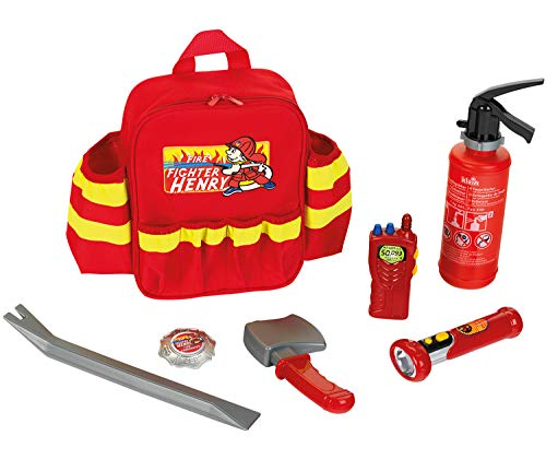 Theo Klein 8900 Fire Fighter Henry Feuerwehr-Rucksack I Mit batteriebetriebener Taschenlampe,...