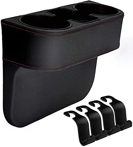 IYOYI Auto Getränkehalter, PU Leder Auto Becherhalter mit 4 Stück Auto-Kopfstützen-Haken,...