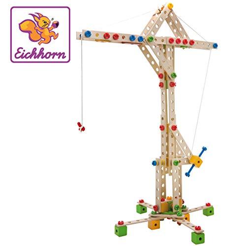 Eichhorn - Constructor Windrad - vielseitiges Holzspielzeug 300 Bauteile, 8 verschiedene Konstruktionen,...