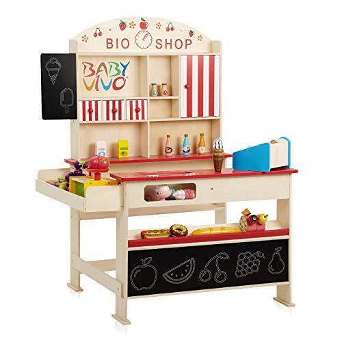 Baby Vivo Kaufladen 'Finn' mit Eisfach aus Holz Kaufmannsladen Verkaufsstand mit breiter Theke und Tafel...
