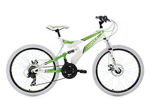 KS Cycling Jugendfahrrad Mountainbike MTB Fully 24'' Topeka weiß-grün RH 41 cm