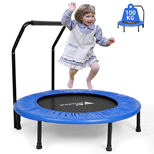 amzdeal Fitness Trampolin, Ø ca 92 cm, Kindertrampolin Sprungmatte Zusammenklappbar Sport Trampolin für...