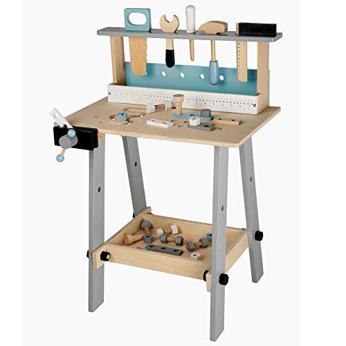 TikTakToo Werkbank Kinder Kinderwerkbank inkl. Kinderwerkzeug, Spielzeug für Kinder aus Holz