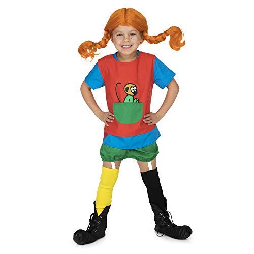 Micki & Friends 44377900 - Pippi Langstrumpf Verkleidung - 110-122 cl (4-6 Jahre) - Kleid - Schürze mit...