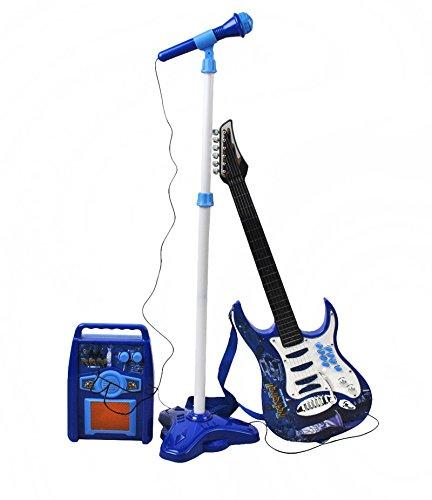 ISO TRADE E-Gitarre + Verstärker + Mikrofon mit Ständer Blau Set für Jungen Batteriebetrieben 1554