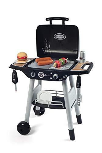 Smoby 312001 - Barbecue Kindergrill - Grill mit mechanischen Kunststoff-Flammen und Grillbesteck, 18...