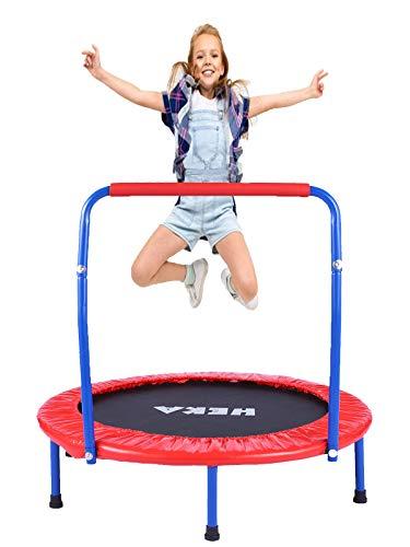 HEKA Trampolin Kinder, Mini-Trampolin 92 cm für Drinnen,Klappbar Fitness Kindertrampolin Indoor Outdoor,...