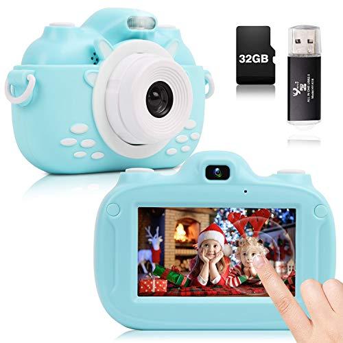 YUNKE Kinderkamera, 3,0-Zoll-HD-Touchscreen-Digitalkamera mit 30MP 1080P 32G Speicherkarten-Kartenleser...