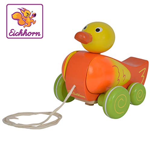 Eichhorn 100002423 - Nachziehtier Ente, Kopf und Flügel beweglich, mit Geräusch, 17 cm lang, Birkenholz