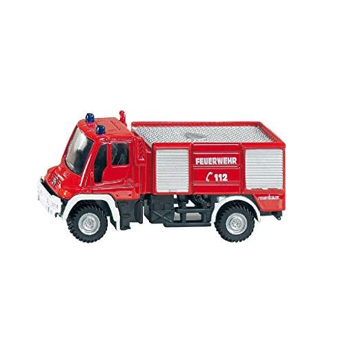 SIKU 1068, Feuerwehr Unimog, 1:87, Metall/Kunststoff, Rot, Bereifung aus Gummi, Spielzeugfahrzeug für...