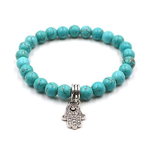 Hand von Fatima - Naturelle Perlen Armband mit Anhänger Khamsa zum Schutz vor dem bösen Blick.