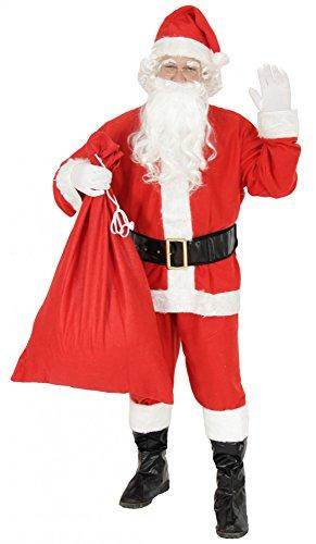 Foxxeo 9-teiliges Weihnachtsmann Nikolauskostüm Kostüm für Herren Mit - Mütze, Bart, Gürtel und...