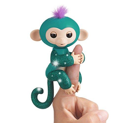Fingerlings Glitzeraffe – Quincy – Blaugrün Glitzer – interaktives Baby Haustier – von WowWee...