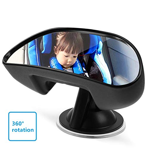 Auto Baby Spiegel, Rückspiegel für Baby Kinder Autospiegel mit Rutschfestem Saugnapf, 360 Grad Drehbar...