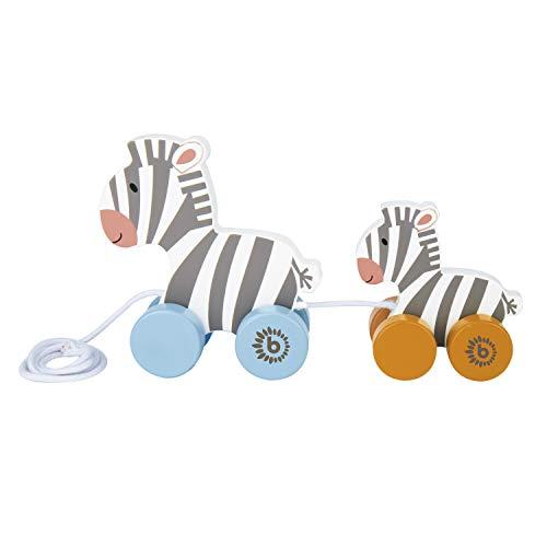 Bieco Nachziehzebras Holz | Nachziehspielzeug ab 1 Jahr | Süßes Nachziehtier aus Holz | Baby Spielzeug...