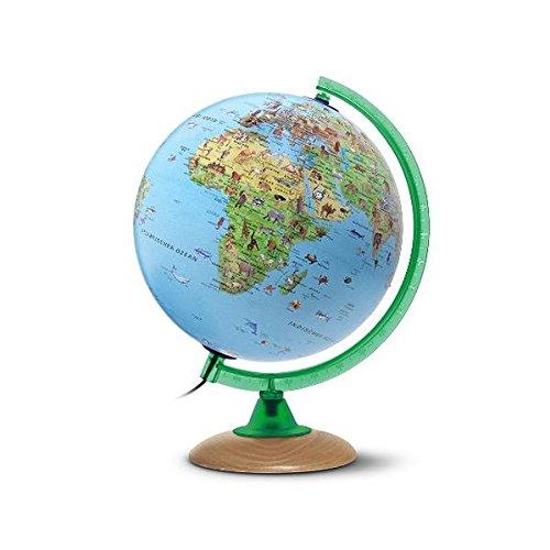 Kinderglobus KS 2525: Globus für Kinder mit vielen Abbildungen, 25 cm Durchm., heller Echtholzfuß,...