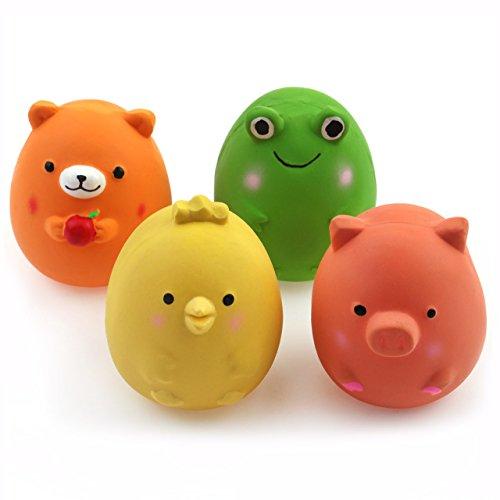 Chiwava 4 Stück 6cm Quitschende Hundespielzeug Latex Lustige Tier-Sets für Klein Hunde Interaktives...