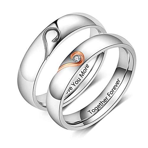 XiXi Partnerringe mit Gravur Personalisierte Eheringe Edelstahl Paar Ringe für Sie und Ihn Herz...