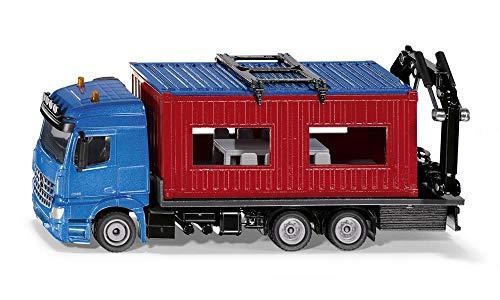 siku 3556, LKW mit Baucontainer, 1:50, Metall/Kunststoff, Blau/Rot, Inkl. Kran zum Abnehmen des...