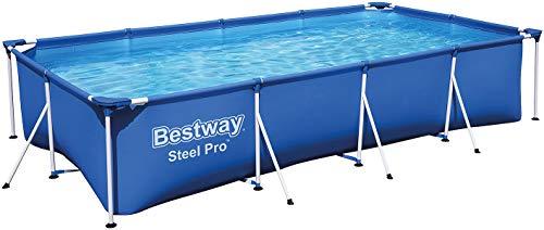 Bestway Frame Pool Steel Pro, Set mit Filterpumpe, 400 x 211 x 81 cm, blau