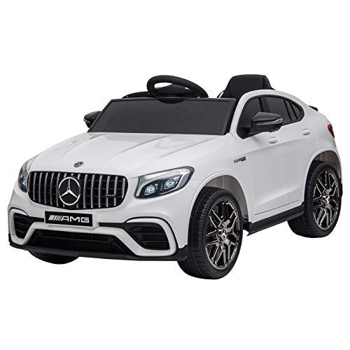 HOMCOM Kinderfahrzeug Elektroauto mit Fernbedienung MP3 Sicherheitsgurt 3–8 Jahre PP Weiß 115 x 70 x...