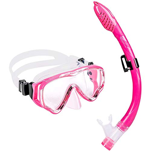 UPhitnis Schnorchelset Kinder - Taucherbrille Anti-Fog und Trocken Schnorchel - Anti-Leck Tauchmaske Dry...