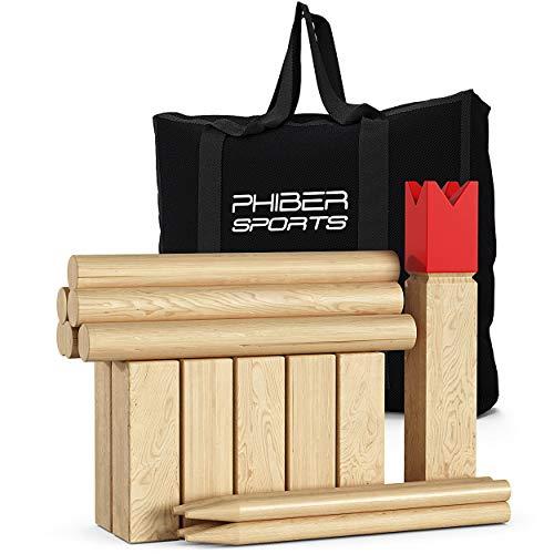 PHIBER-SPORTS Kubb Wikinger Spiel aus Holz in Premium Qualität – Aus massivem Holz – Mit praktischer...