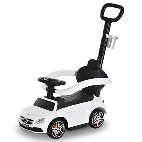 HOMCOM Rutschauto Rutscher Kinderauto von Mercedes Benz Kinderfahrzeug Schub- und Haltestange mit...