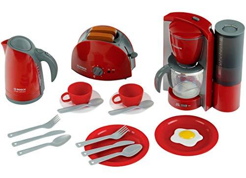 Theo Klein 9564 Bosch Frühstücksset I Küchen-Set bestehend aus Toaster, Kaffemaschine, Wasserrkocher...