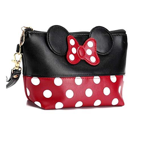 Mouse Ears Style Tupfen Kosmetiktasche - Damen Schminktasche Cartoon Mini Geldbörse für Handtasche...