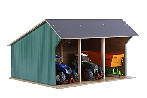 Kids Globe Fahrzeugschuppen 1:32 (für bis zu 3 Fahrzeuge/Traktoren/Anhänger, Dach aufklappbar,...
