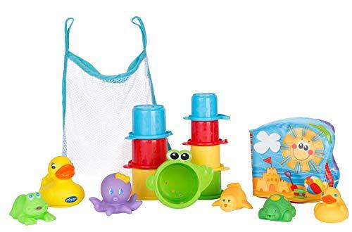 Playgro 0182933 Badespielzeug-Set, 16-teilig, Ab 6 Monaten, BPA-frei, Playgro Badespielzeug Geschenkset