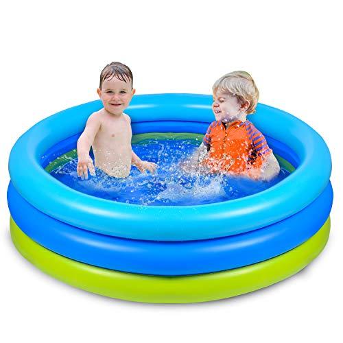 Joyjoz Planschbecken Kinder Aufblasbares Pool 120x 30 cm Schwimmbecken Kinderpool Babypool für Garten...