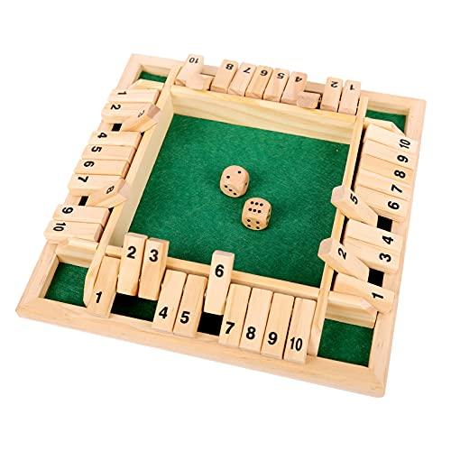 colmanda Holz Brettspiel, 4 Spieler Flop-Spiel Vierseitiges Brettspiel Würfelspiel Board Spielzeug, Holz...