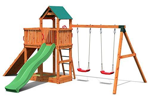 Gartenpirat Spielturm Kletterturm Pirat T4 mit Schaukel, Rutsche und Klettersteg mit Seil