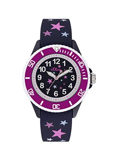 s.Oliver Mädchen Analog Quarz Uhr mit Silikon Armband SO-3926-PQ