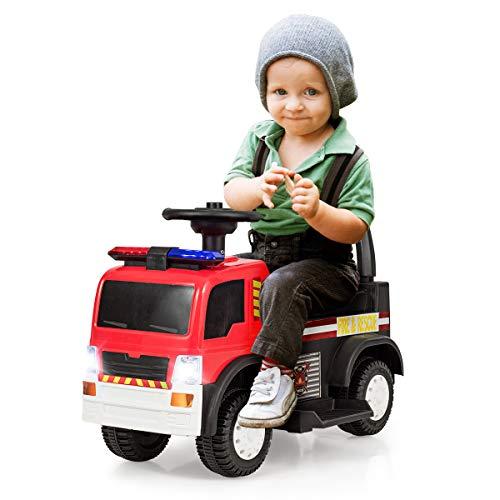 COSTWAY Kinder Feuerwehrauto, Elektroauto, Kinderauto, Elektrofahrzeug, Kinderfahrzeug mit Sirene,...