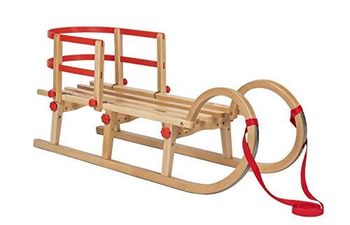 Impag® Klassischer Hörner-Schlitten: Holzschlitten aus Buchenholz mit Sicherheits-Rückenlehne