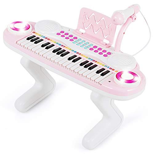 COSTWAY 37 Tasten Klaviertastatur mit Licht, Kinder Keyboard mit Ständer, Klavier Spielzeug...