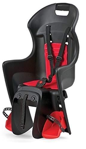 P4B | Fahrrad Kindersitz - Gepäckträgermontage hinten in Rot/Schwarz | Für Fahrräder mit 26-28 Zoll |...