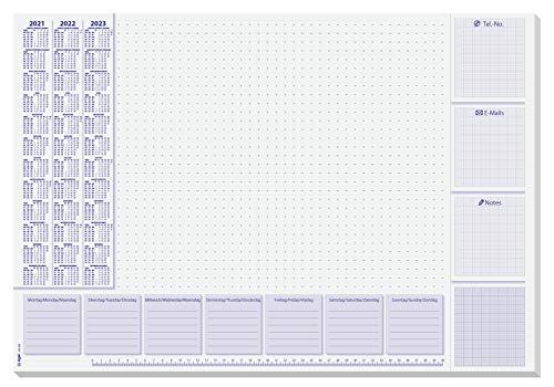 SIGEL SY499 HO355 Papier-Schreibunterlage, ca. DIN A2, mit 3-Jahres-Kalender und Wochenplan 2021 - 2023,...