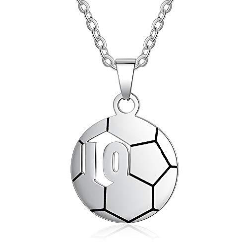 Jewelora personalisierte Kinder Name Halskette Fußball Nummer 10 oder 23 Anhänger maßgeschneiderte...