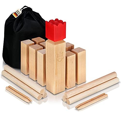 POZY® Kubb Wikinger Wurfspiel [Made in Germany] aufregendes Gesellschaftsspiel für Erwachsene und...