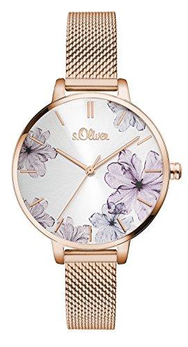 s.Oliver Damen Analog Quarz Armbanduhr mit Edelstahlarmband SO-3524-MQ